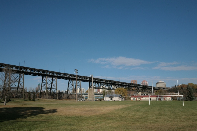 The Kinsmen field and High Level Bridge in the distance.